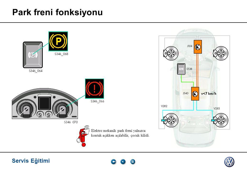 Servis Eğitimi, VK-21 03.2005. Park freni fonksiyonu.