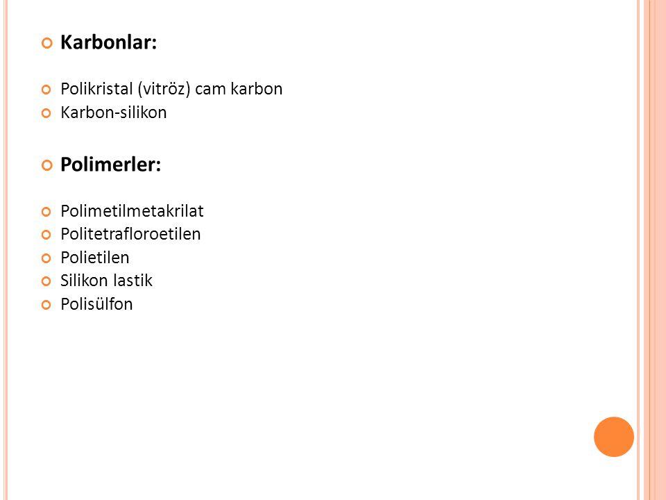 Karbonlar: Polimerler: Polikristal (vitröz) cam karbon Karbon-silikon
