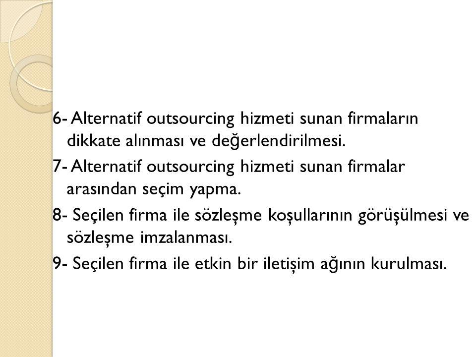 6- Alternatif outsourcing hizmeti sunan firmaların dikkate alınması ve değerlendirilmesi.