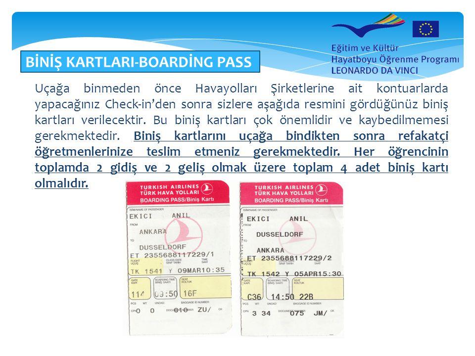 BİNİŞ KARTLARI-BOARDİNG PASS