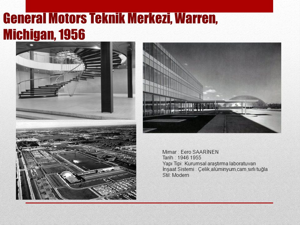 General Motors Teknik Merkezi, Warren, Michigan, 1956