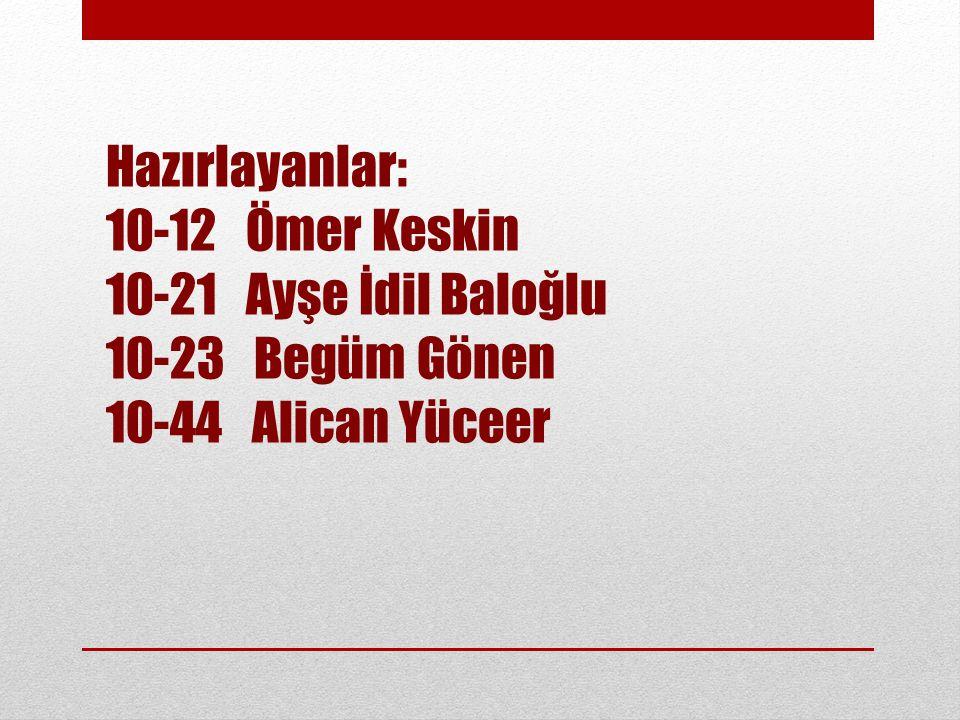 Hazırlayanlar: 10-12 Ömer Keskin. 10-21 Ayşe İdil Baloğlu.