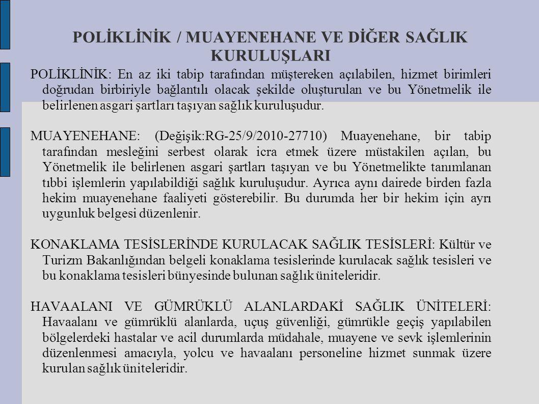 POLİKLİNİK / MUAYENEHANE VE DİĞER SAĞLIK KURULUŞLARI