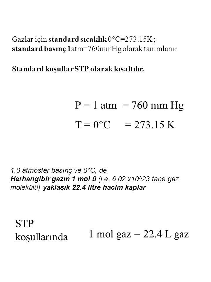 P = 1 atm = 760 mm Hg T = 0°C = 273.15 K STP koşullarında
