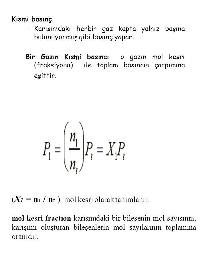 (X1 = n1 / nt ) mol kesri olarak tanımlanır.