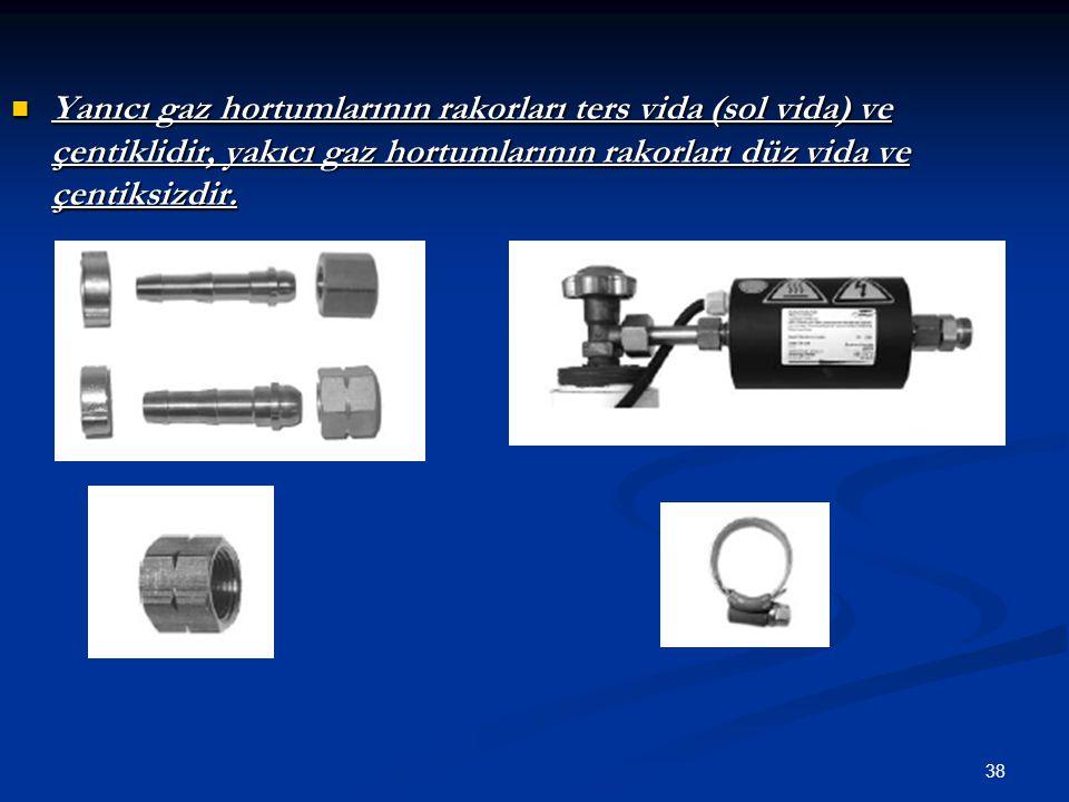 Yanıcı gaz hortumlarının rakorları ters vida (sol vida) ve çentiklidir, yakıcı gaz hortumlarının rakorları düz vida ve çentiksizdir.
