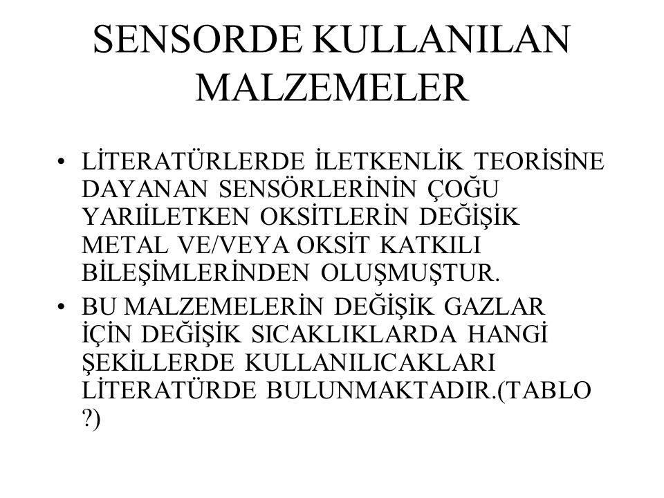 SENSORDE KULLANILAN MALZEMELER