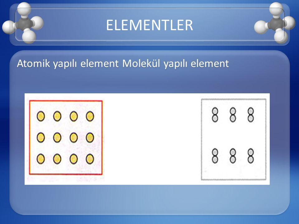 ELEMENTLER Atomik yapılı element Molekül yapılı element