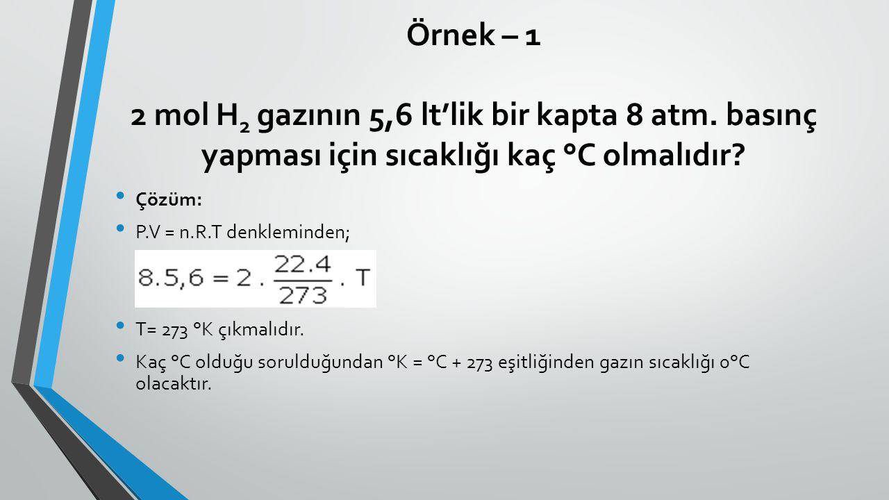 Örnek – 1 2 mol H2 gazının 5,6 lt'lik bir kapta 8 atm