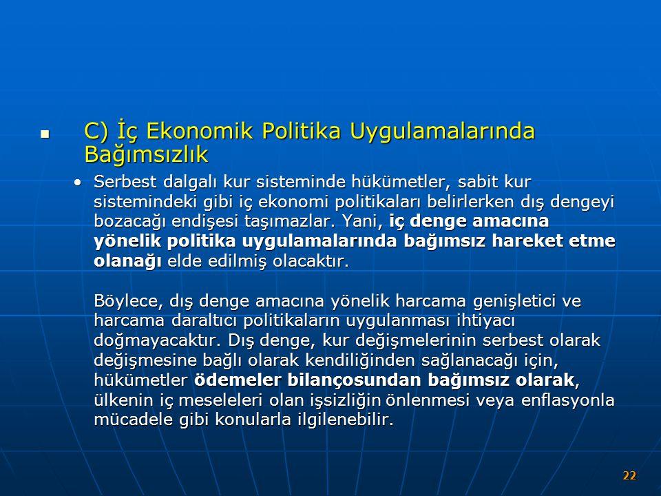 C) İç Ekonomik Politika Uygulamalarında Bağımsızlık