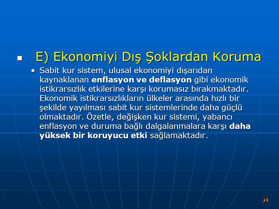 E) Ekonomiyi Dış Şoklardan Koruma