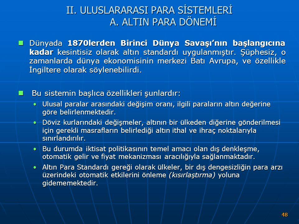 II. ULUSLARARASI PARA SİSTEMLERİ A. ALTIN PARA DÖNEMİ