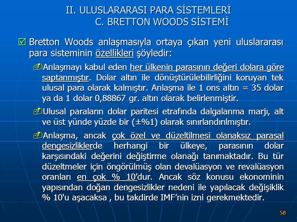 II. ULUSLARARASI PARA SİSTEMLERİ C. BRETTON WOODS SİSTEMİ
