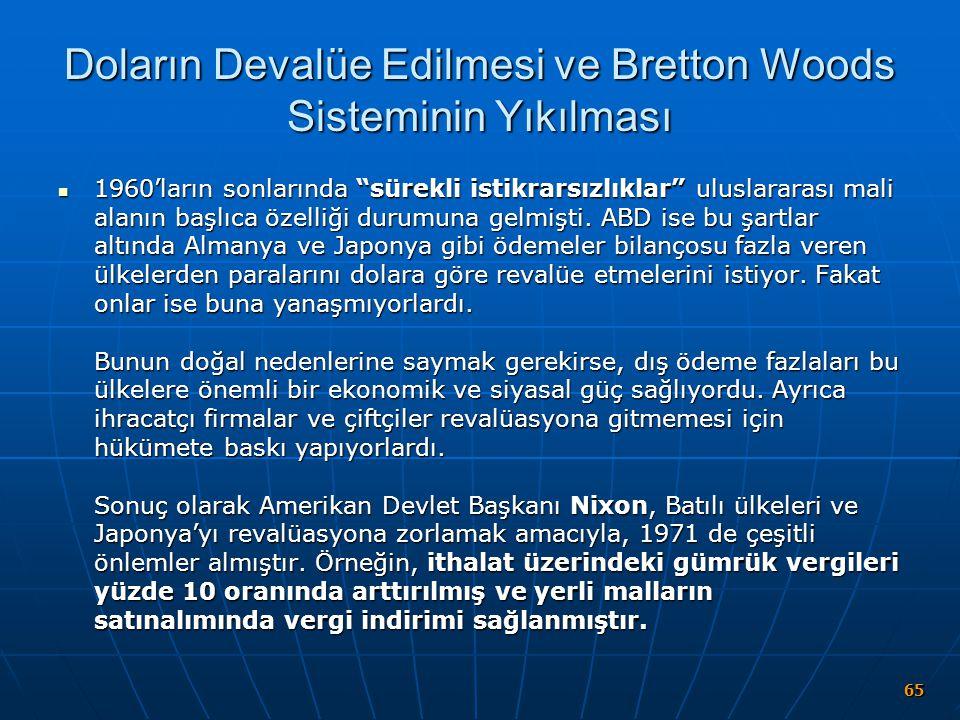 Doların Devalüe Edilmesi ve Bretton Woods Sisteminin Yıkılması