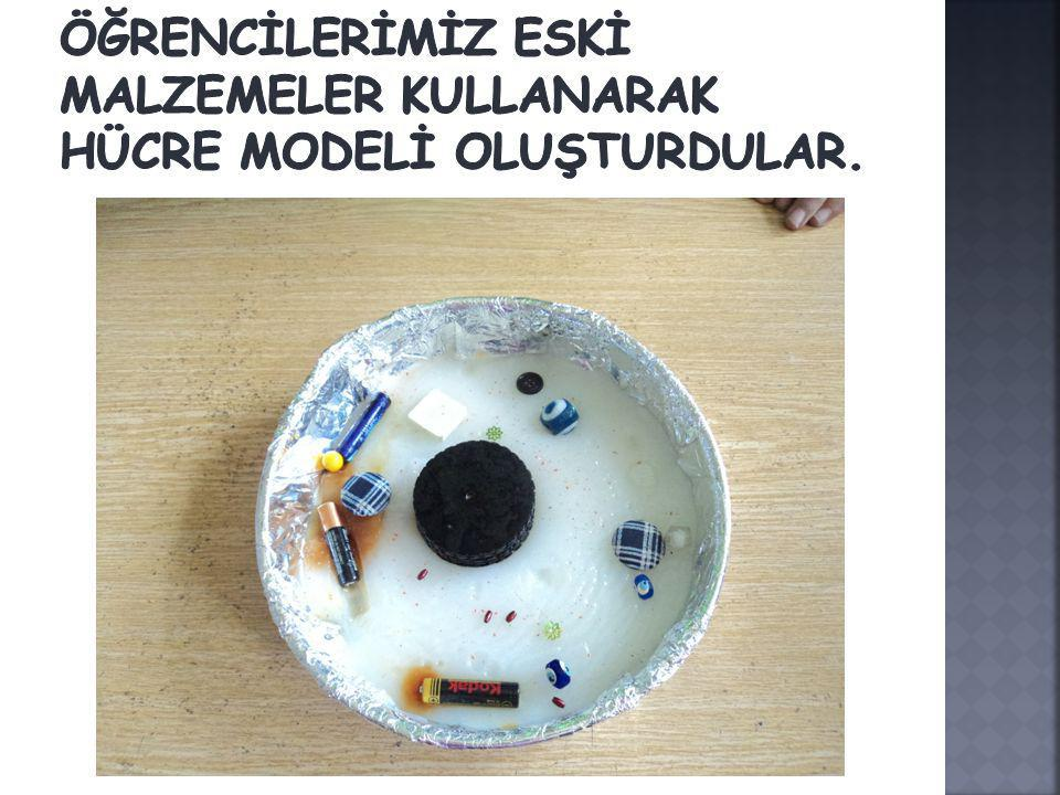 Öğrencİlerİmİz eskİ malzemeler kullanarak hücre modelİ oluşturdular.