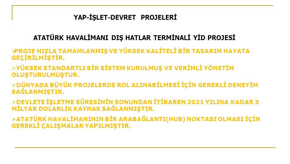 YAP-İŞLET-DEVRET PROJELERİ