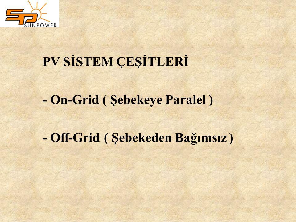 PV SİSTEM ÇEŞİTLERİ - On-Grid ( Şebekeye Paralel ) - Off-Grid ( Şebekeden Bağımsız )