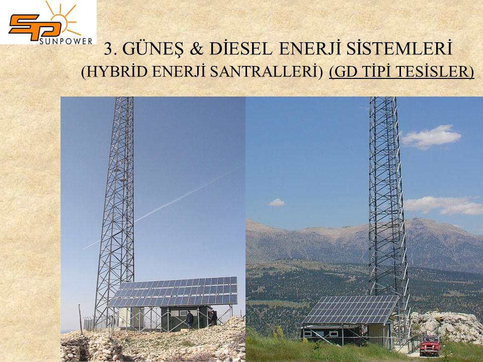 3. GÜNEŞ & DİESEL ENERJİ SİSTEMLERİ (HYBRİD ENERJİ SANTRALLERİ) (GD TİPİ TESİSLER)