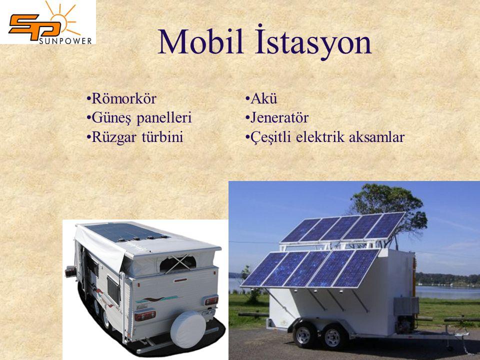 Mobil İstasyon Römorkör Güneş panelleri Rüzgar türbini Akü Jeneratör