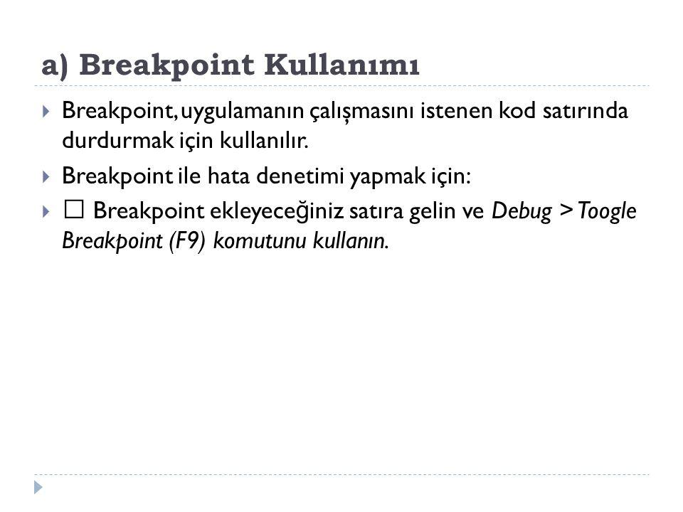 a) Breakpoint Kullanımı