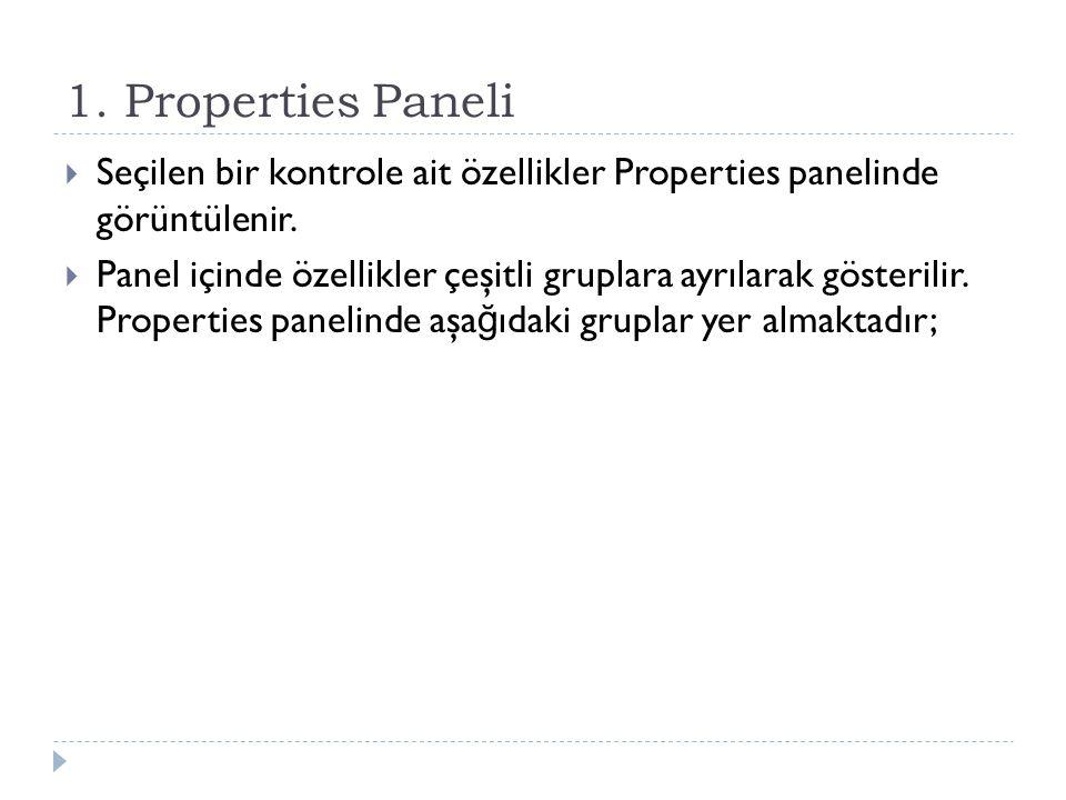 1. Properties Paneli Seçilen bir kontrole ait özellikler Properties panelinde görüntülenir.