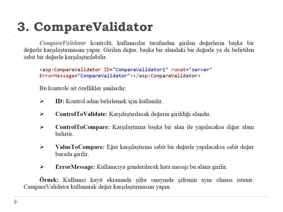3. CompareValidator