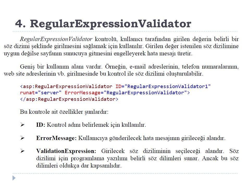 4. RegularExpressionValidator
