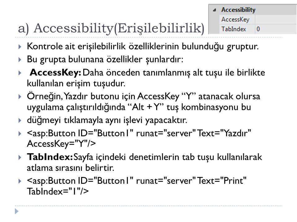 a) Accessibility(Erişilebilirlik)