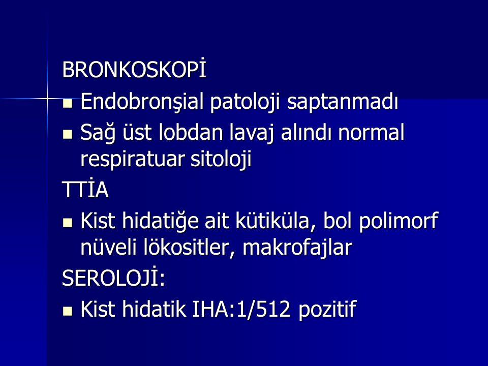 BRONKOSKOPİ Endobronşial patoloji saptanmadı. Sağ üst lobdan lavaj alındı normal respiratuar sitoloji.