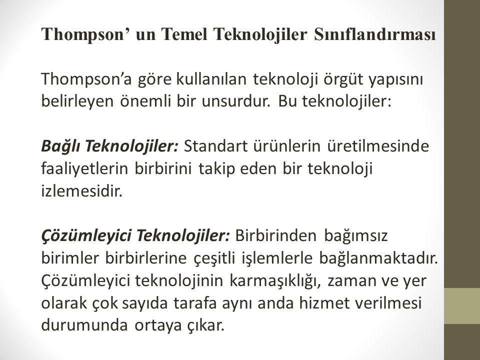 Thompson' un Temel Teknolojiler Sınıflandırması