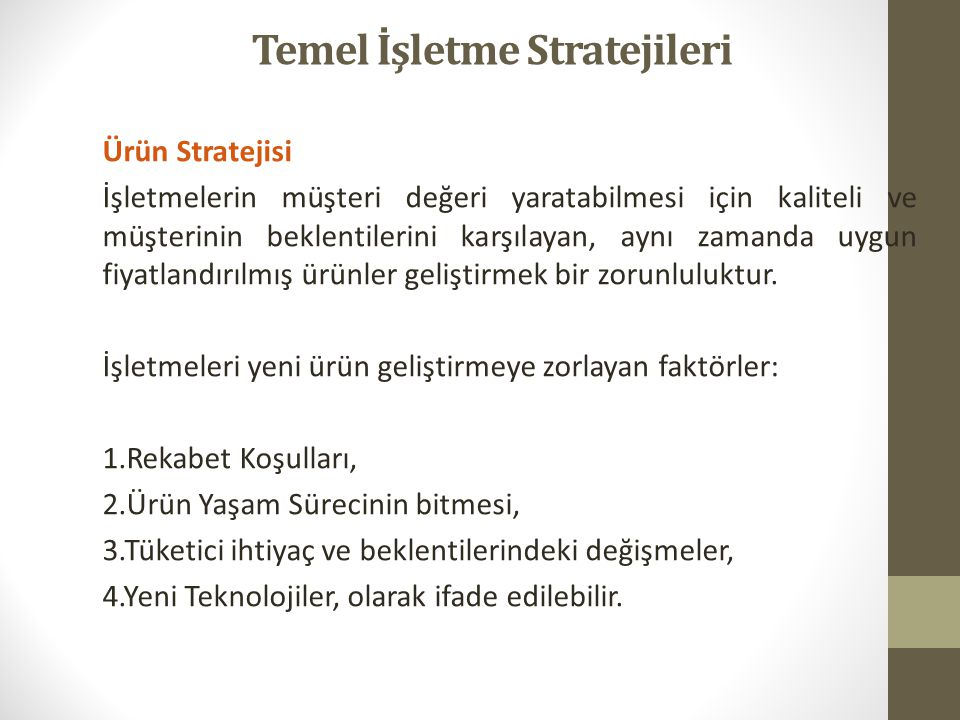 Temel İşletme Stratejileri