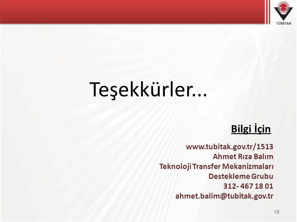 Teşekkürler... Bilgi İçin www.tubitak.gov.tr/1513 Ahmet Rıza Balım