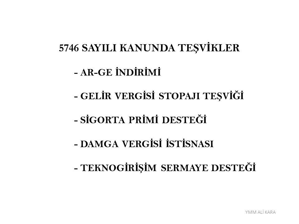 5746 SAYILI KANUNDA TEŞVİKLER