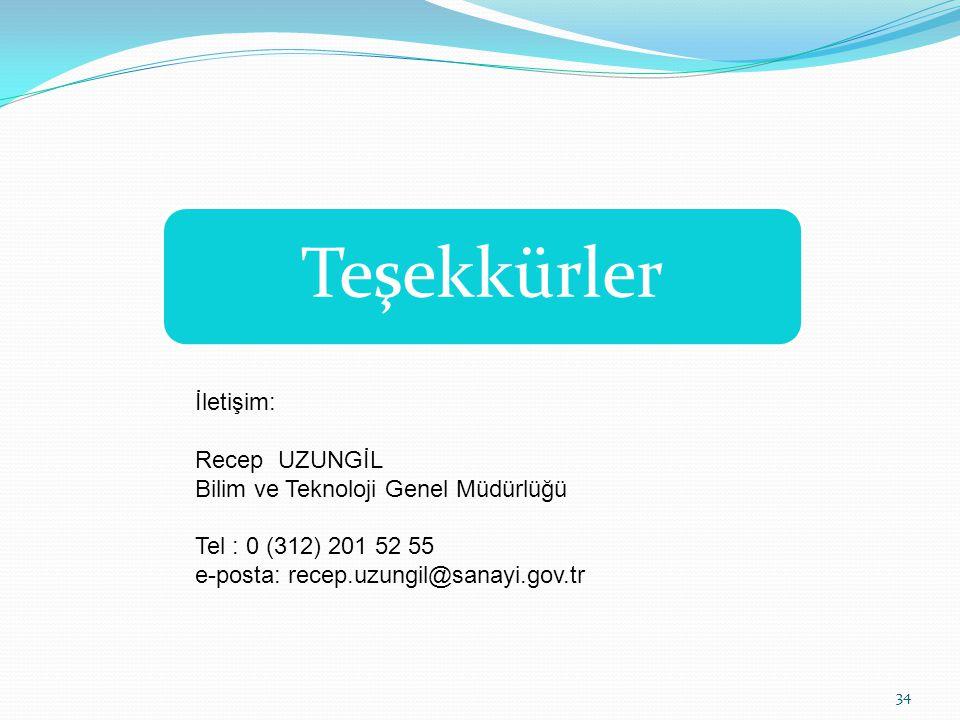 Teşekkürler İletişim: Recep UZUNGİL Bilim ve Teknoloji Genel Müdürlüğü