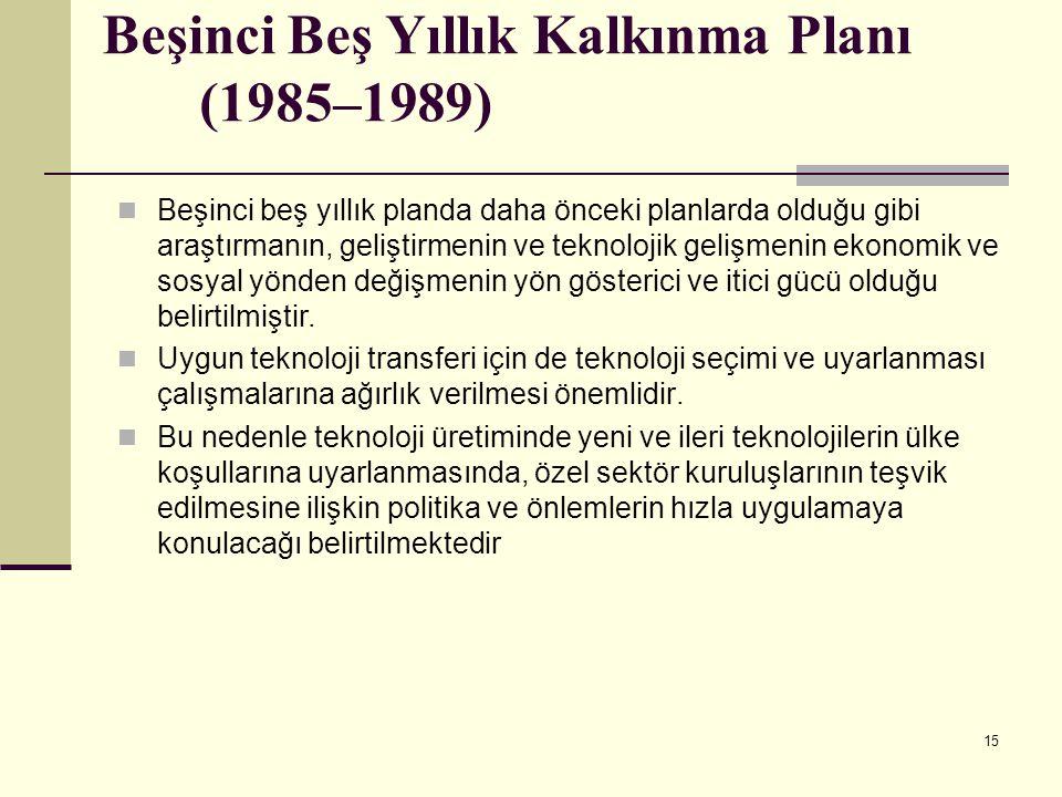 Beşinci Beş Yıllık Kalkınma Planı (1985–1989)