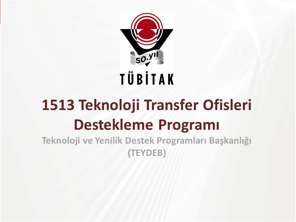 1513 Teknoloji Transfer Ofisleri Destekleme Programı Teknoloji ve Yenilik Destek Programları Başkanlığı (TEYDEB)