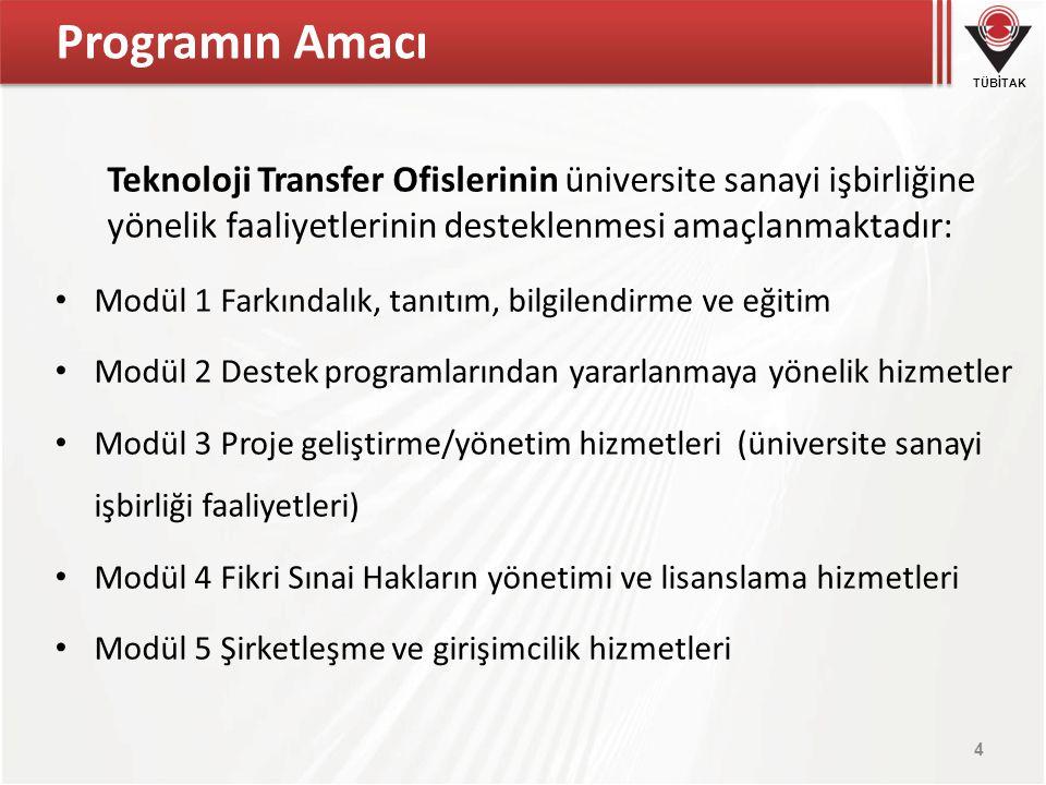 Programın Amacı Teknoloji Transfer Ofislerinin üniversite sanayi işbirliğine yönelik faaliyetlerinin desteklenmesi amaçlanmaktadır: