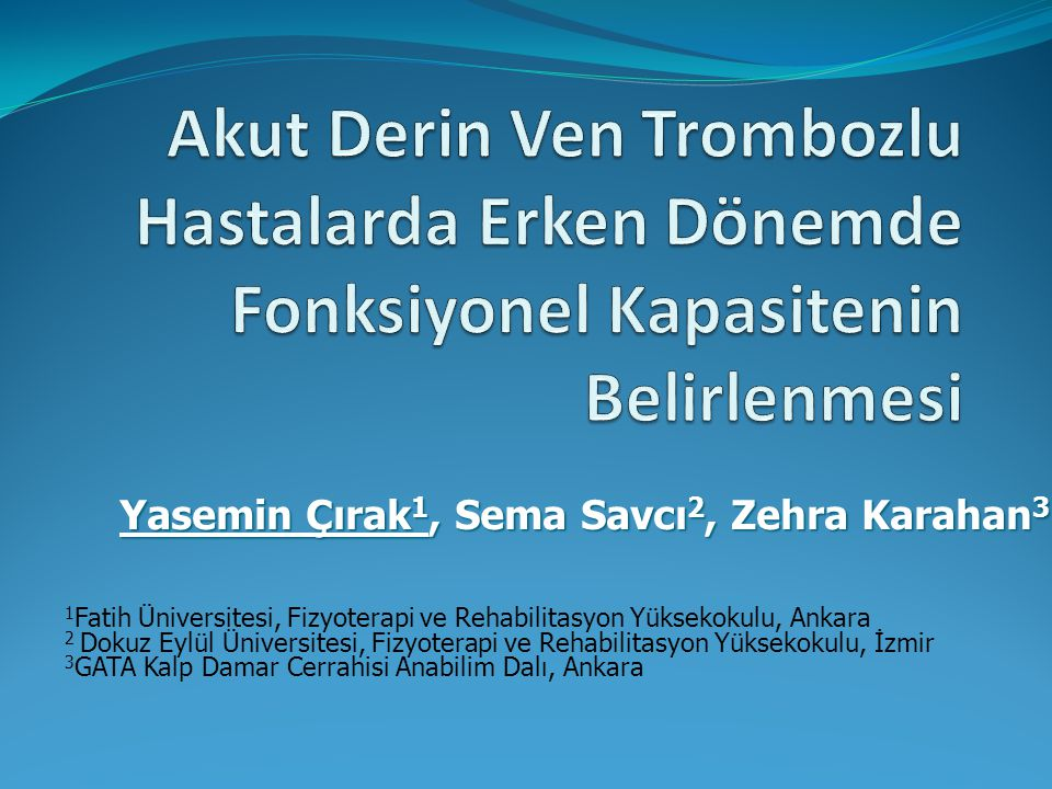 Yasemin Çırak1, Sema Savcı2, Zehra Karahan3
