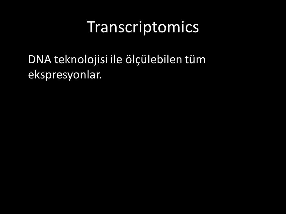 Transcriptomics DNA teknolojisi ile ölçülebilen tüm ekspresyonlar.