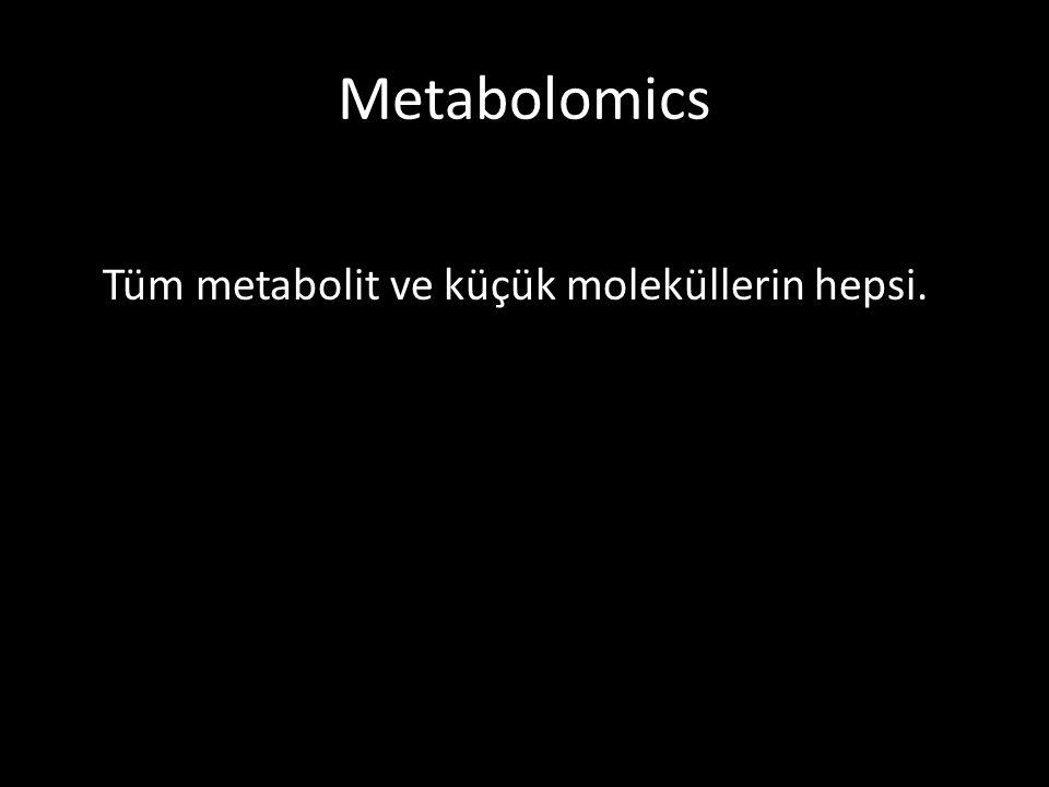Metabolomics Tüm metabolit ve küçük moleküllerin hepsi.