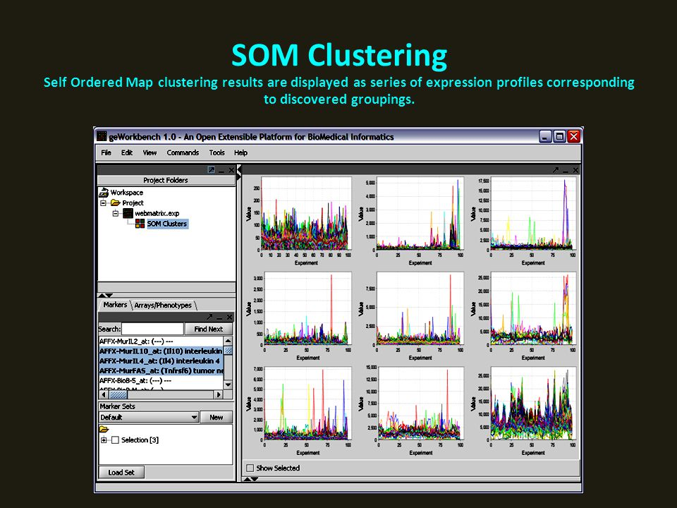 SOM Clustering Self Ordered Map clustering results are displayed as series of expression profiles corresponding to discovered groupings.