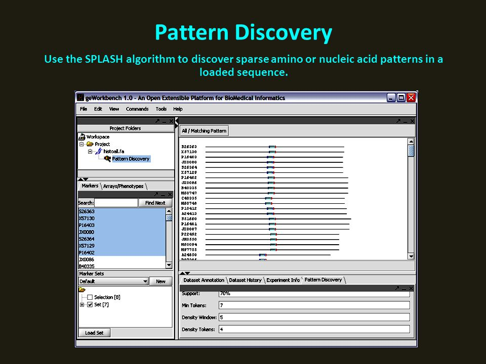 Pattern Discovery Use the SPLASH algorithm to discover sparse amino or nucleic acid patterns in a loaded sequence.