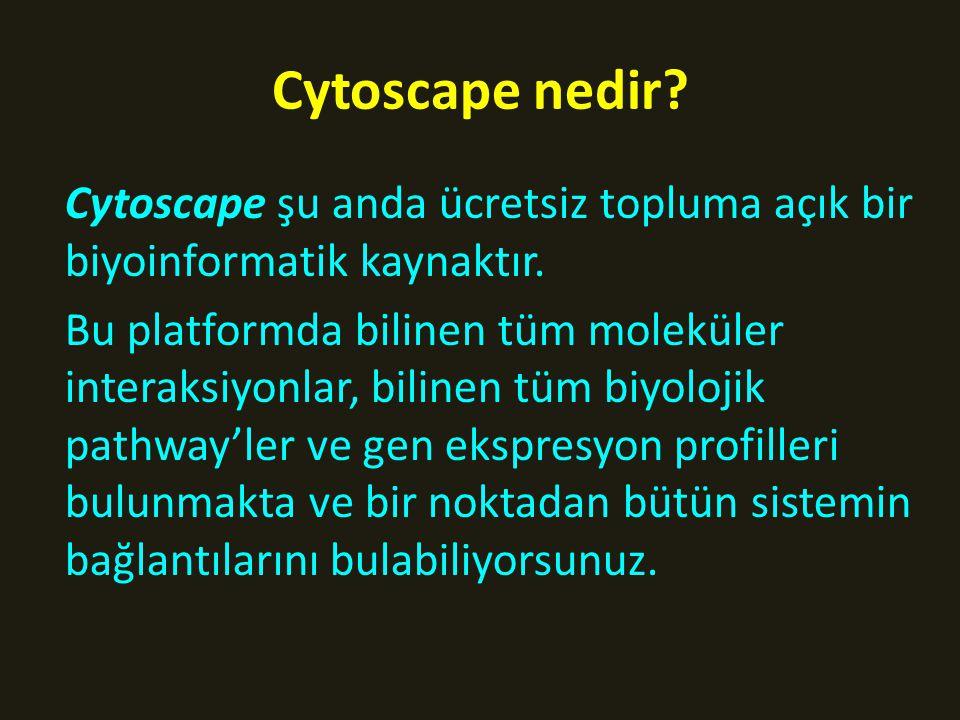 Cytoscape nedir Cytoscape şu anda ücretsiz topluma açık bir biyoinformatik kaynaktır.