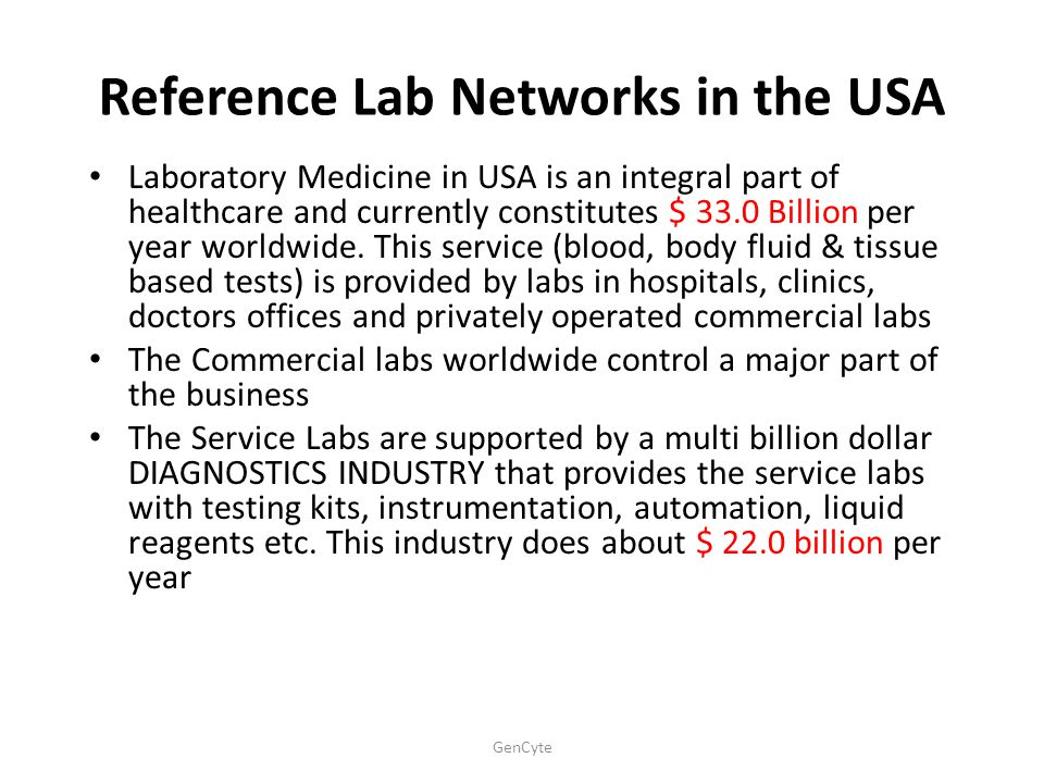 Reference Lab Networks in the USA