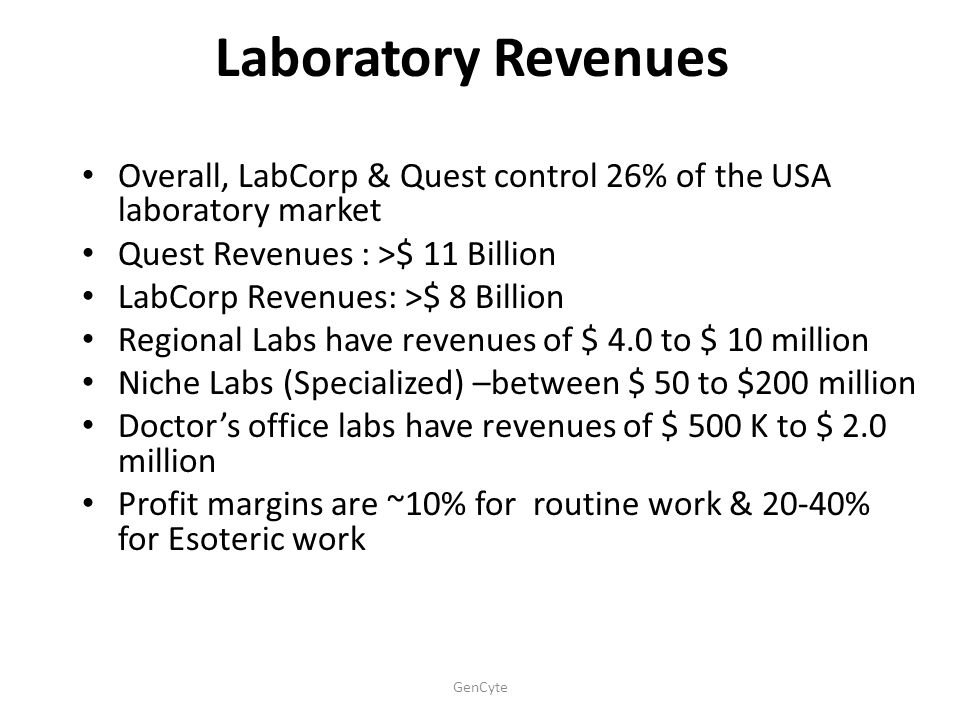 Laboratory Revenues Overall, LabCorp & Quest control 26% of the USA laboratory market. Quest Revenues : >$ 11 Billion.