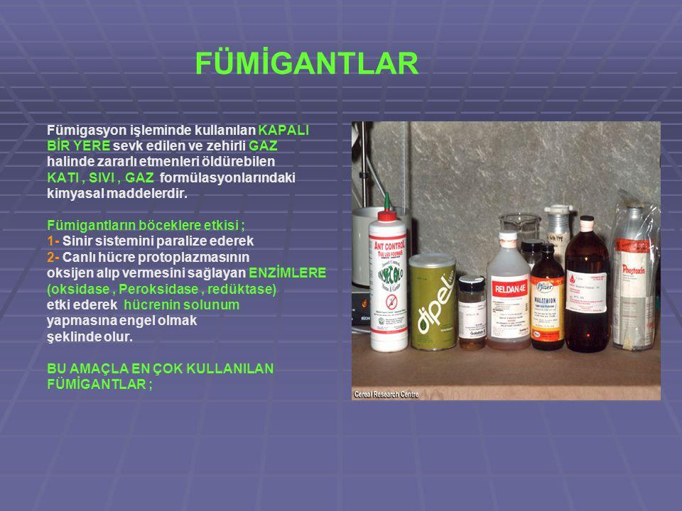 FÜMİGANTLAR Fümigasyon işleminde kullanılan KAPALI