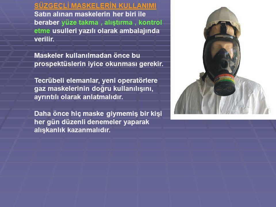 SÜZGEÇLİ MASKELERİN KULLANIMI Satın alınan maskelerin her biri ile beraber yüze takma , alıştırma , kontrol etme usulleri yazılı olarak ambalajında verilir.