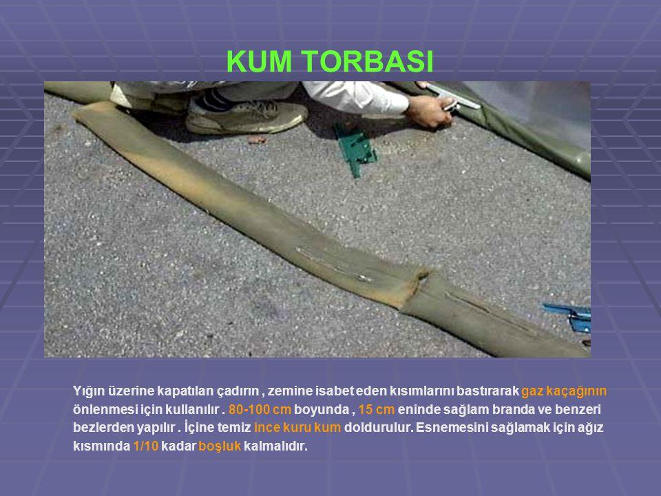 KUM TORBASI Yığın üzerine kapatılan çadırın , zemine isabet eden kısımlarını bastırarak gaz kaçağının.