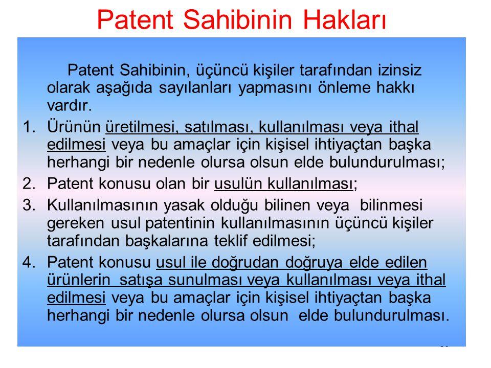 Patent Sahibinin Hakları