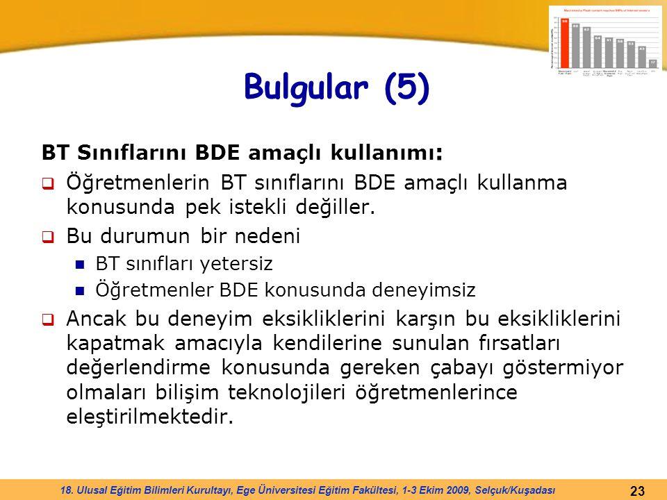 Bulgular (5) BT Sınıflarını BDE amaçlı kullanımı: